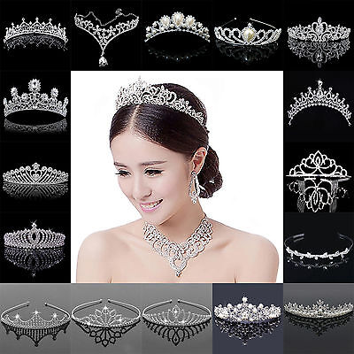 Bridal Wedding Crystal Flower Tiara Crown Pearl Rhinestone Hair Band Headband FB