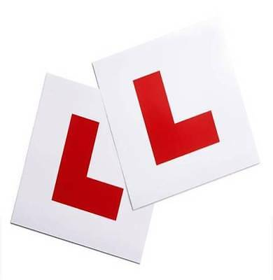 1 Pair of NEW LEARNER RED L PLATES CAR MOPED MOTORCYCLE STICK ON TIE ON brand nw