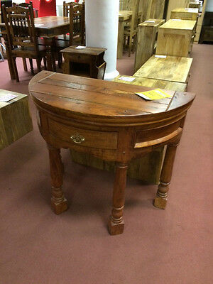 Indian Solid Seesham Wood Half Round Side Table