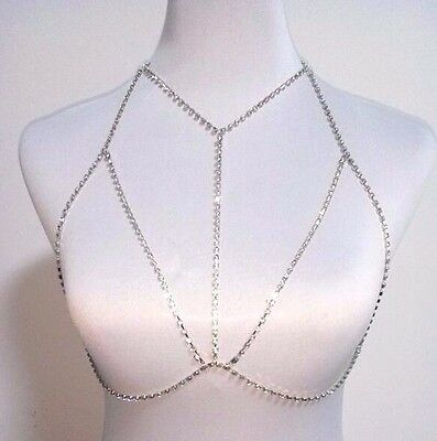 Rhinestone Diamante Crystal Body Open Bra Chain Gold Or Silver Choose Uk Seller