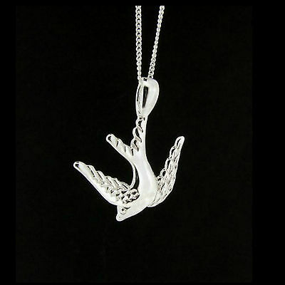 Large 925 Sterling Silver Swallow Bird Pendant Hand Finished Made in England