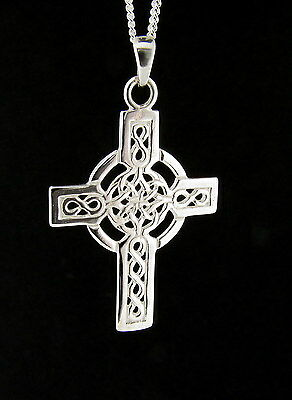 925 Sterling Silver Celtic Cross Pendant - Made in England