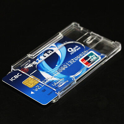 2Pcs Vertical Hard Plastic ID Badge Pass Holder Double Credit Card Clear Box NEW