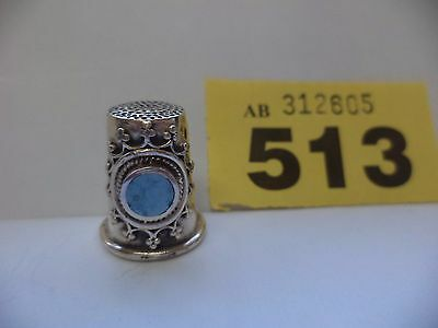 Vintage Solid Silver Thimble with Blue Stone Decoration - London / 1993 / A.N