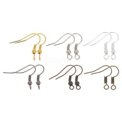100 Pcs Surgical Stainless Steel Ear Wires Earwires With Coil And Ball Earrings