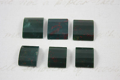 6 x Vintage Bloodstone Cabochons Domed Angled Rectangle Polished Job Lot (b)