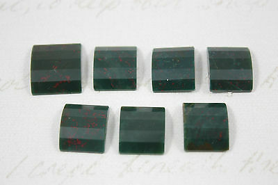 7 x Vintage Bloodstone Cabochons Domed Angled Rectangle Polished Job Lot (c)