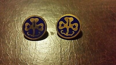 Vintage 3 leaf clover blue enamel Girl Scouts Pins Brooches