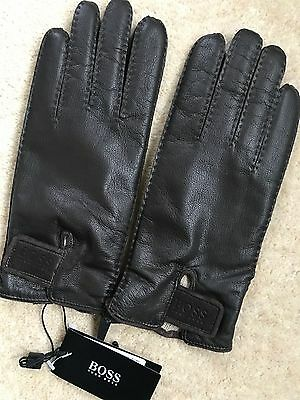 """Hugo Boss Black Label """"kranto2"""" Brown Leather Gloves - Size 8.5 & 9 - New & Tags"""
