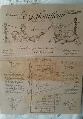Copy Ww1 Somme 15 Oct Edition Of Le Gafouilleur Trench Newspaper Machine Gun Sqd