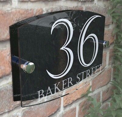 Contemporary House Sign Plaque Door Number 1 - 999 Personalised Name Plates