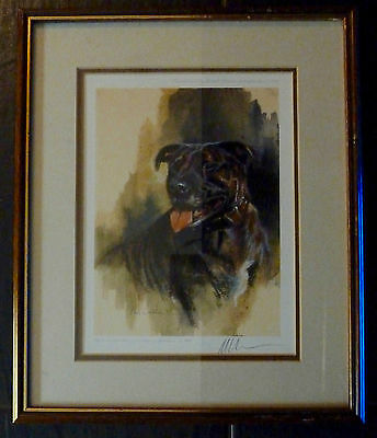 Head of a Staffordshire Bull Terrier by Mick Cawston-PRINT LIMITED EDITION 184/8