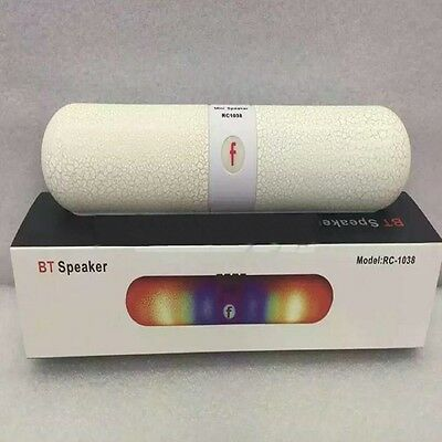 Wireless Bluetooth Pill Pulse Speaker With LED Light Support TF Card FM White {)