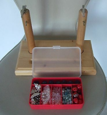 Wooden clamp/holder for making Jewellery plus glass/crystal beads