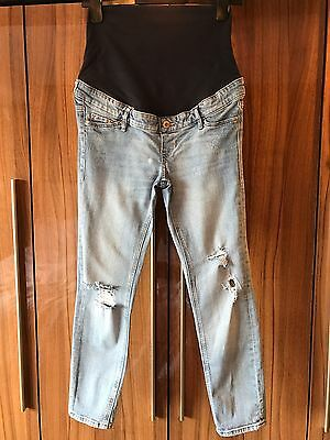 H&m Maternity Jeans Size 10 12 Light Blue Jegging Skinny Fit Fitted Slim Stretch