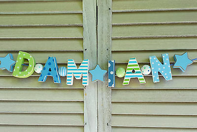 """""""damian"""" Wooden Wall Letters Door Name Baby Shower Nursery Decor Shabby Chic"""