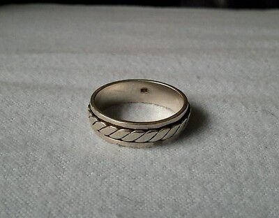 Vintage Solid Silver Celtic Braided Weave Spinner Ring *Large size *
