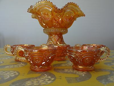 Vintage  Old Carnival Glass Punch Bowl + 5 Cups