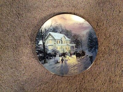 "1985 Knowles Thomas Kinkade Sleighride Home"" Collectors Plate"