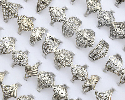 Fab Fasshion 10Pcs Wholesale Lots Jewelry Mixed Style Tibet Silver Vintage Rings