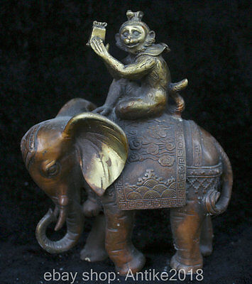21CM Ancient China Purple Bronze Gilt Fengshui Monkey Ride Elephant Lucky Statue