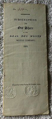 Real Del Monte Mining Company 1831 'one £10 Share'