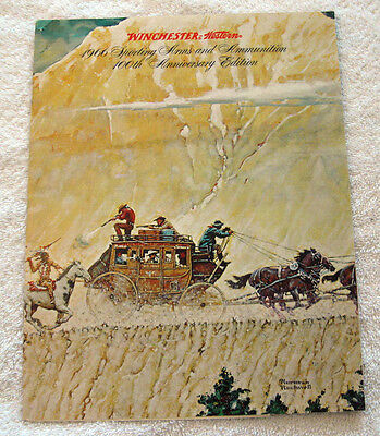 1966 Winchester Western 100th Anniversary Catalog~Vtg Rifles/Ammo~Rockwell Cover