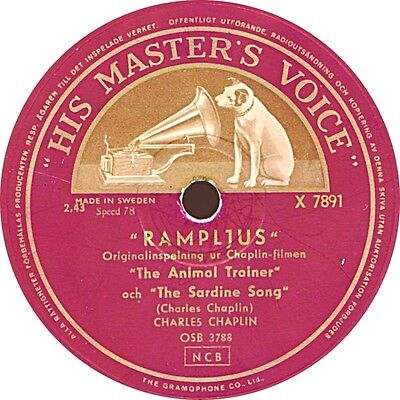 78 RPM Charles Chaplin - The Animal Trainer / The Sardine Song - 1953