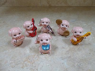 Set Of 6 China Small Pigs Playing Musical Instruments Band Collectable