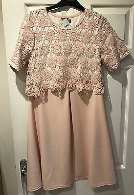 BNWT Ladies ASOS Pink And Cream Maternity Dress, Size 10