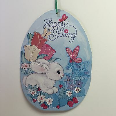 Vintage Bunny Classroom Poster Happy Spring Sign Strawberries Flowers Butterfly