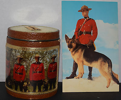 Vintage R.C.M.P. Coin Jar Bank & Postcard -Made in Canada