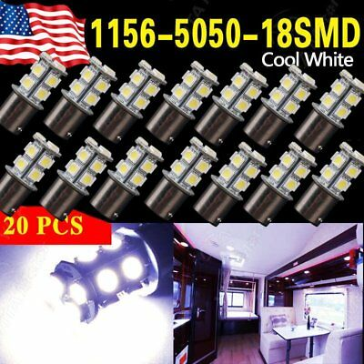20X COOL White 1156 LED RV Camper Trailer 1141 Interior Light Bulbs 13SMD 12V VP