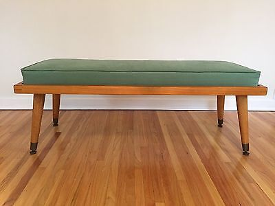 Mid Century Mid-Century Wood Bench Upholstered in Green Fabric