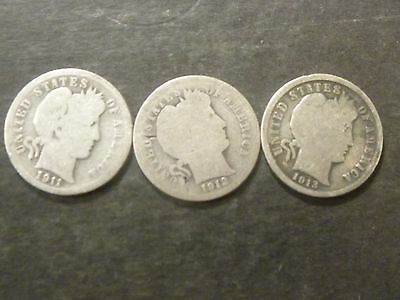 Lot Of[3] Silver Barber Dimes ,1911-D,1912-P,1913-P, Good Circulated