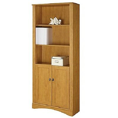 Realspace Dawson 5-Shelf Bookcase With Doors, Canyon Maple (299007)