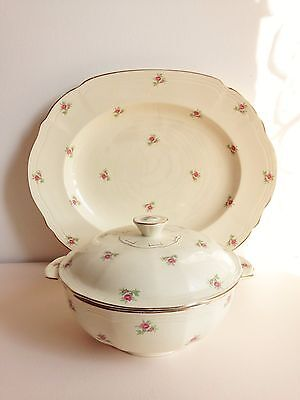 Vintage large oval cream Alfred Meakin serving plate pink rose shabby chic