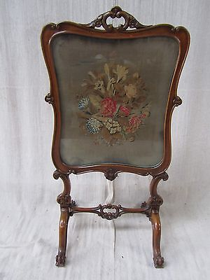 Victorian Mahogany Tapestry Fire-screen
