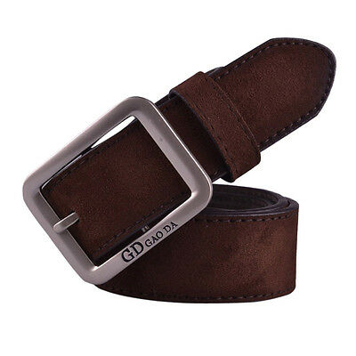 Men Fashion Casual Belts Waist Band Leather Automatic Buckle Waist Strap Coffee