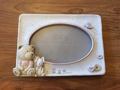 Pretty Teddy Bear Picture Frame Baby Girl Nursery