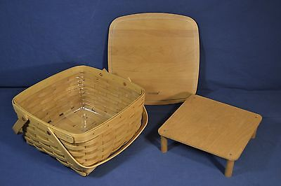 2002 Longaberger Cake Basket with Protector and Riser