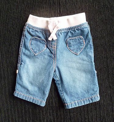 Baby clothes GIRL 0-3m NEXT pink-lined blue denim jeans/trouserpink waist/stitch