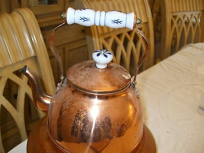 Copper Kettle with enamel handle and lid knob