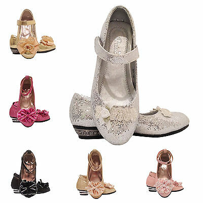 Girls Sandals ON SALE kids Glitter Wedding Bridesmaid Party Low Heels Shoes