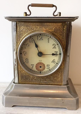 Antique Music Box Alarm Carriage Clock Made in Germany