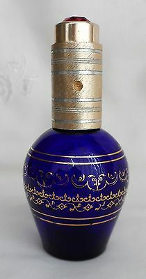 Vintage BLUE GLASS gilt PERFUME BOTTLE ATOMIZER embellished faux RUBY jewel