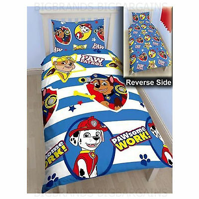 Paw Patrol 'Pawsome' Reversible Single Bed Duvet Quilt Cover Set New Gift Kids