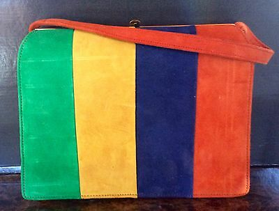 VINTAGE 60s Andrew Geller Striped suede purse and coin purse