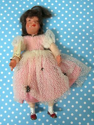 Vintage German Metal Doll Biegsam w Tag Pink Dress 3 1/4 Inches NICE!  SHP
