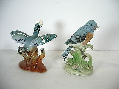 Blue Bird and Blue Jay Figurines Set of 2 Porcelain Japan Open Wings Nice Group